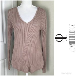 Jlo Long Sleeve Top Blouse Rose Taupe Sz M